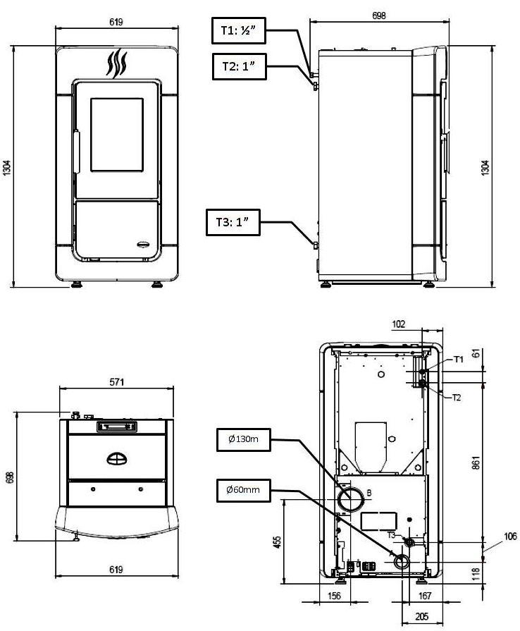Diadema Idro 28,3kW - Διαστάσεις